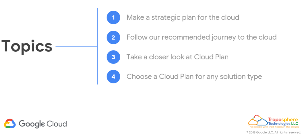 Google Cloud Plan Topics